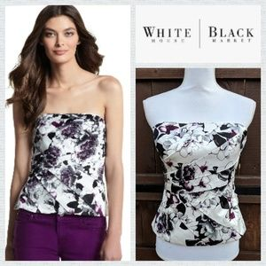 WHBM Floral Strapless Top